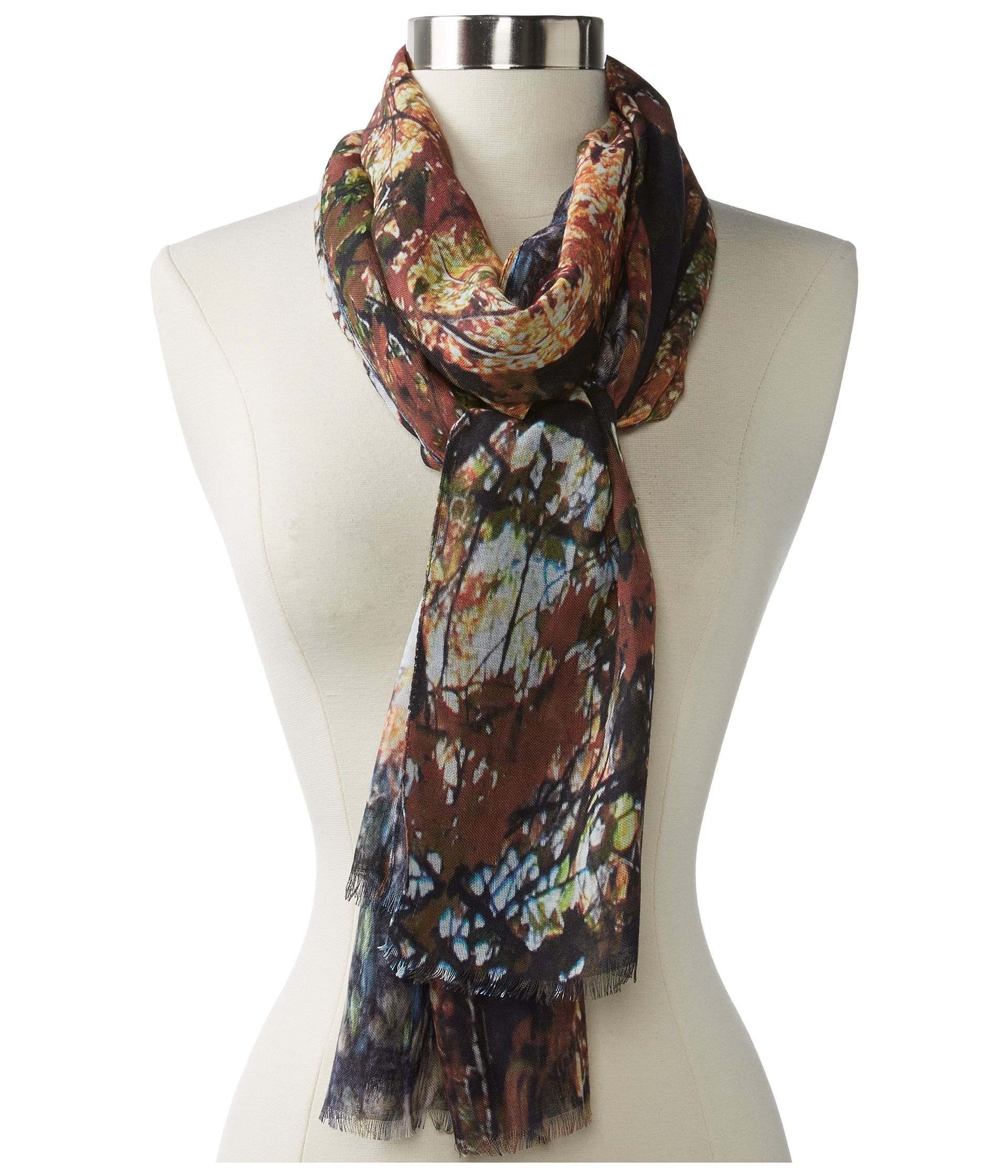 echo design digital feather rock scarf teal boucle forest