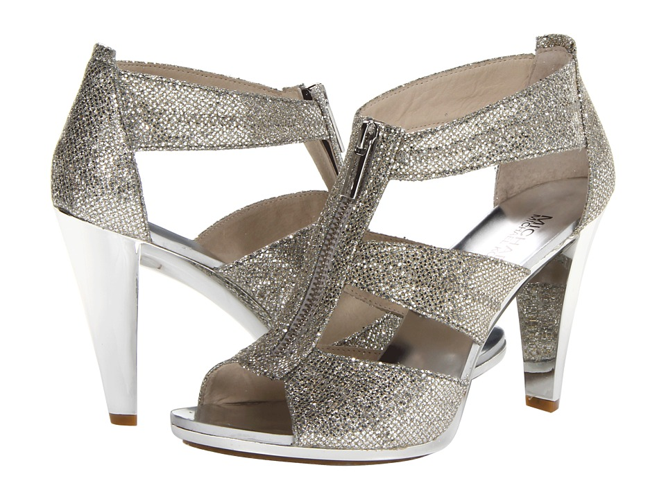 MICHAEL Michael Kors Berkley T-Strap (Silver Glitter) High Heel Shoes