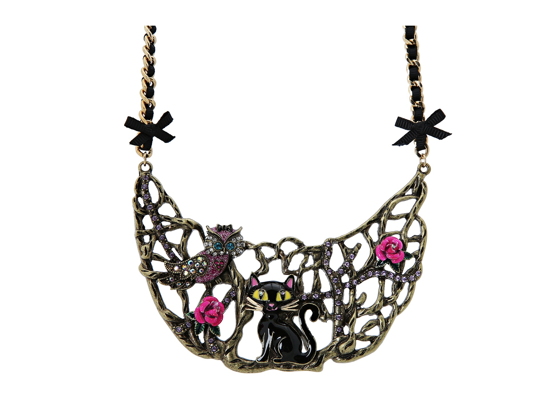betsey johnson enchanted cat owl half moon necklace pink