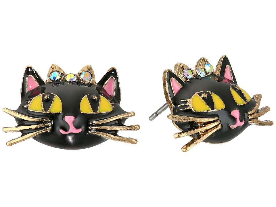 Betsey Johnson - Enchanted Forest Cat Stud Earrings (Pink) Earring