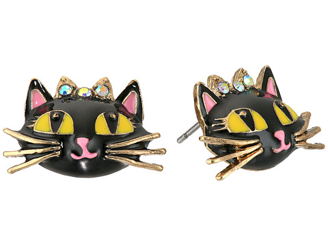 Betsey Johnson Enchanted Forest Cat Stud Earrings