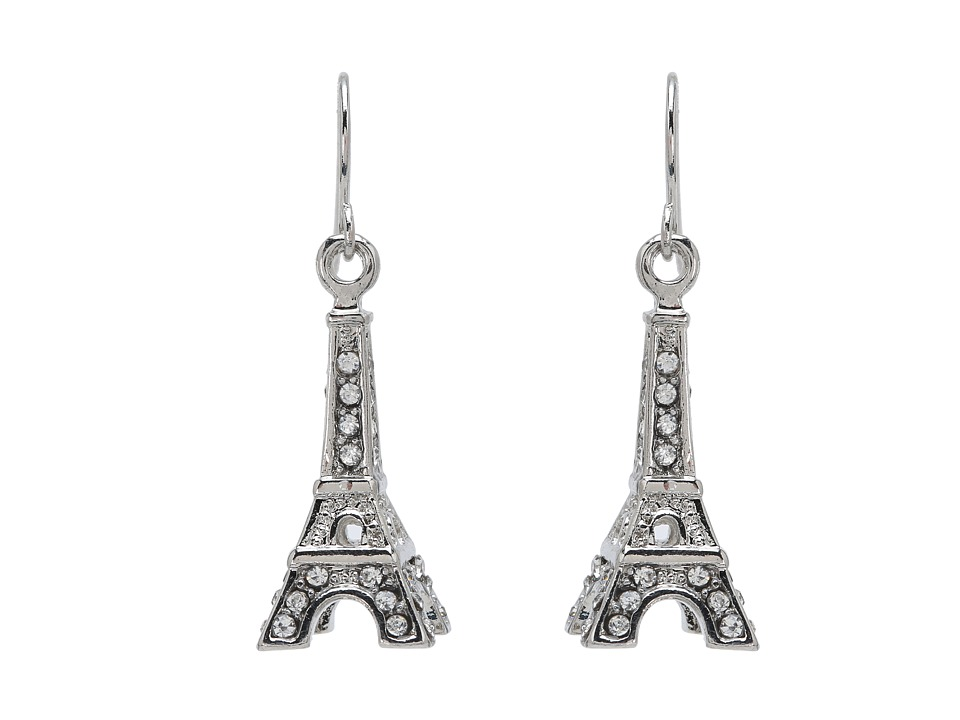 Betsey Johnson - Crystal Rhodium Eiffel Tower Drop Earrings (Crystal) Earring