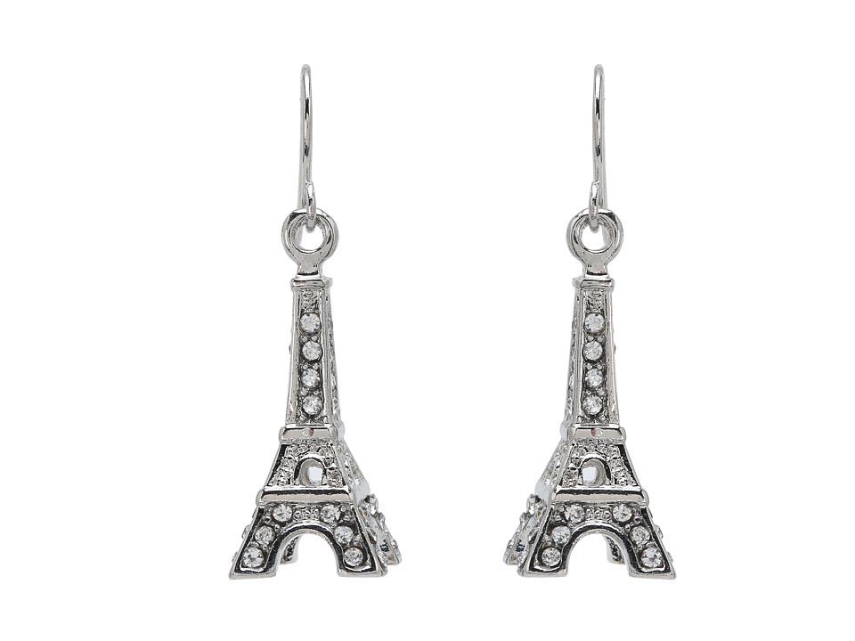 Betsey Johnson - Crystal Rhodium Eiffel Tower Drop Earrings