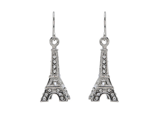 Betsey Johnson Crystal Rhodium Eiffel Tower Drop Earrings
