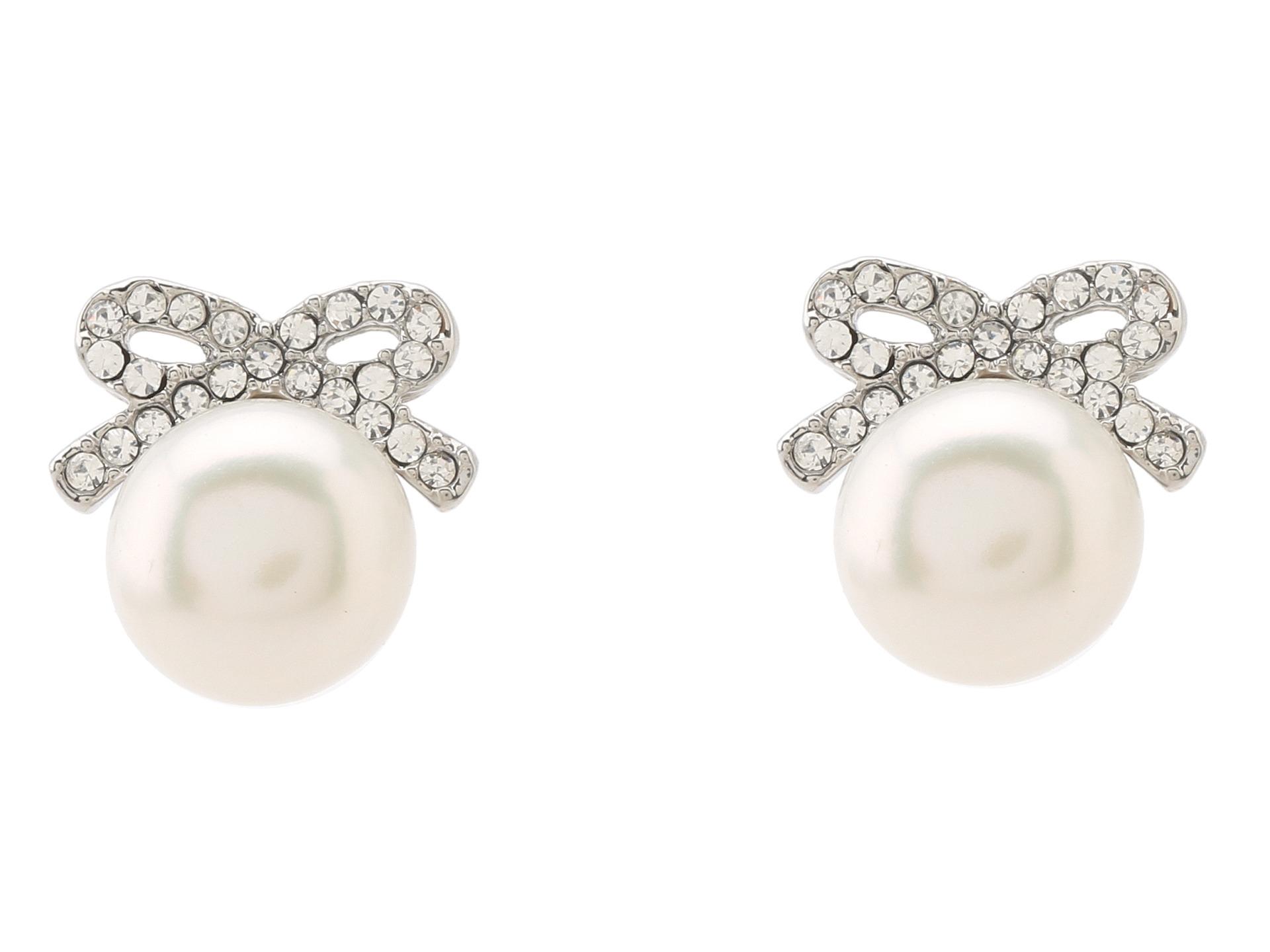 Betsey Johnson Crystal Rhodium Pearl Bow Stud Earrings  Zappos