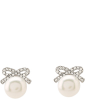 Betsey Johnson - Crystal Rhodium Pearl Bow Stud Earrings