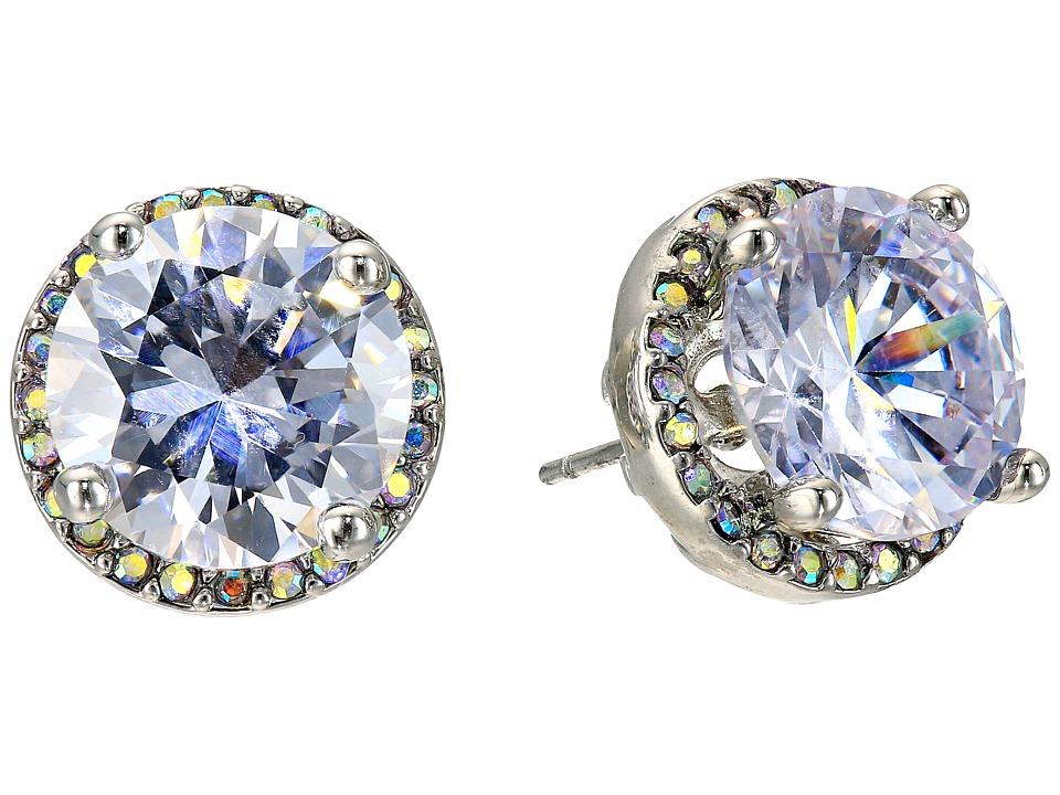 Betsey Johnson - Crystal Rhodium Crystal Stud Medium Earrings