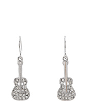 Betsey Johnson - Crystal Rhodium Small Guitar Drop Earrings