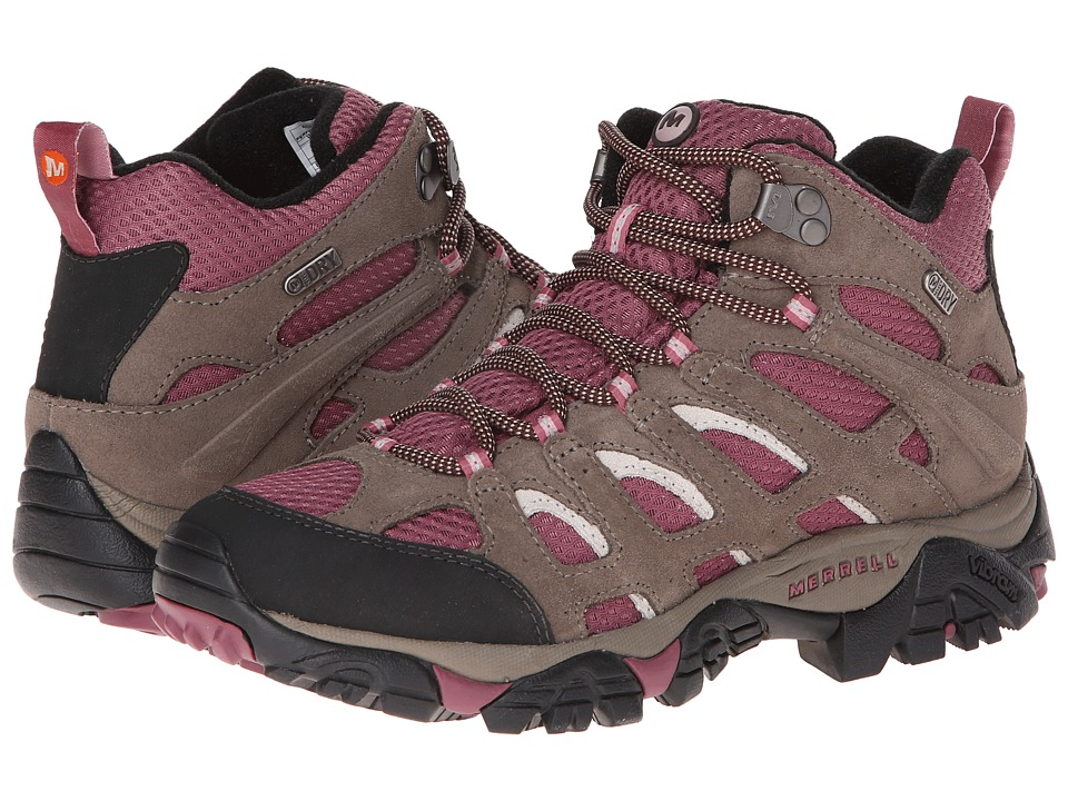 Merrell - Moab Mid Waterproof (Boulder/Blush) Women