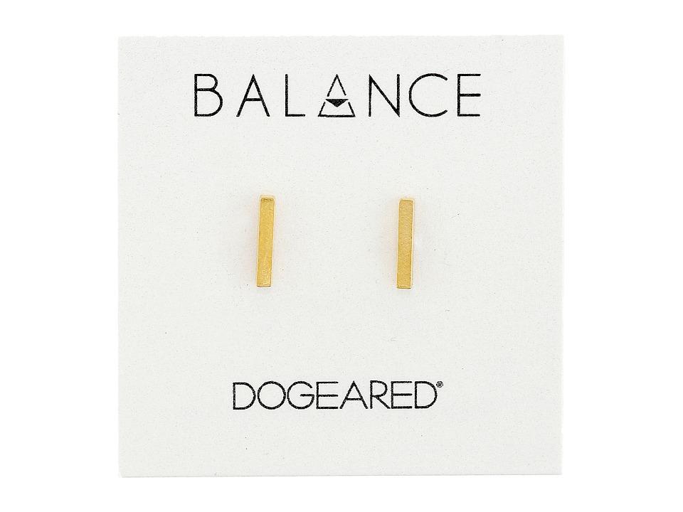 Dogeared Balance Flat Bar Stud Earrings (Gold) Earring