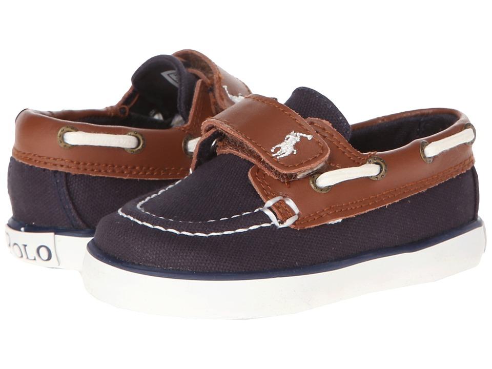 Polo Ralph Lauren Kids - Sander-CL EZ (Toddler) (Navy Canvas/Tan Leather) Boys Shoes
