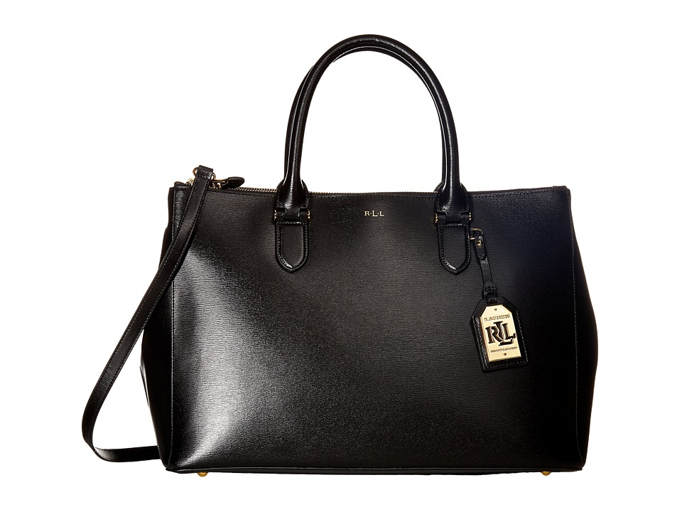 LAUREN Ralph Lauren - Newbury Double Zip Satchel (Black (Gold)) Satchel Handbags