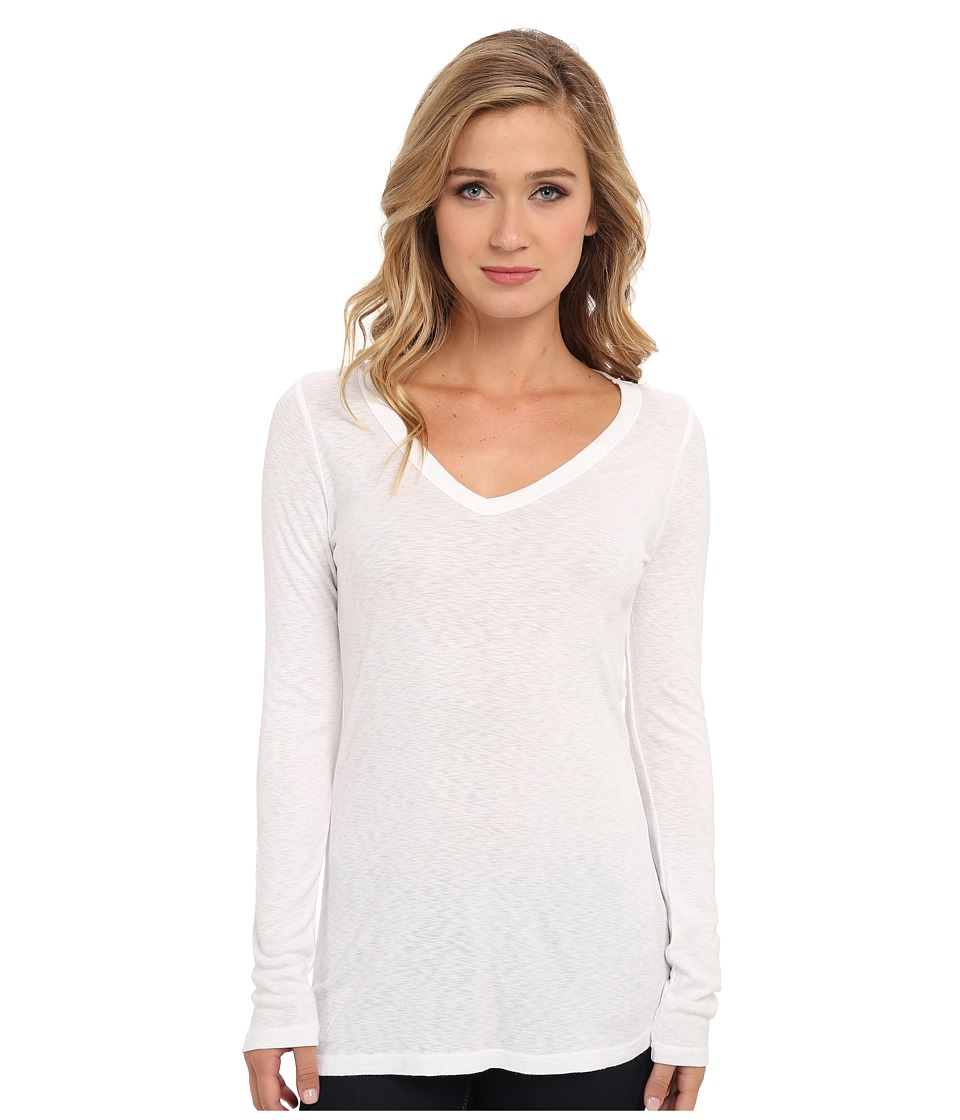 Michael Stars - Slub Long-Sleeve V-Neck Tee (White) Womens Long Sleeve Pullover