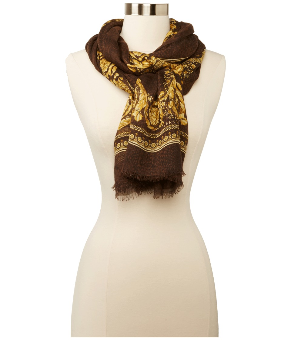 Versace Crowning Achievement Shawl (Brown) Scarves