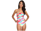 LAUREN Ralph Lauren - Rainbow Print Draped Bandeau Mio Swimsuit (Multi)