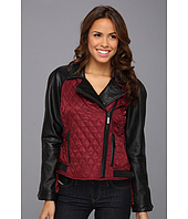 Vince Camuto - Quilted Leather and Fabric Moto Jacket