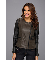 Vince Camuto - Collarless Two-Tone Leather Moto Jacket