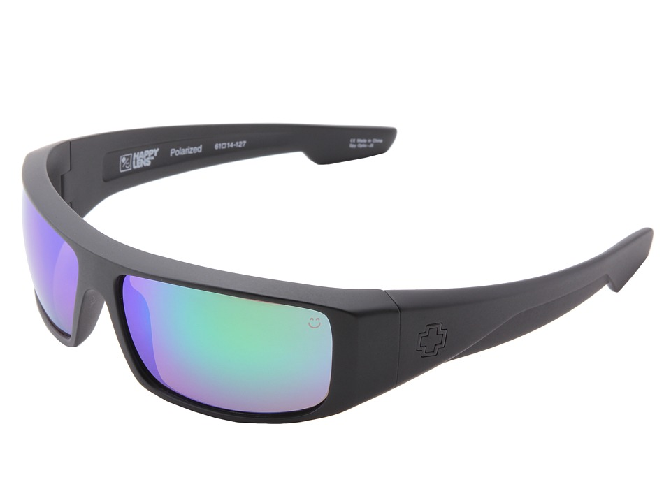 Spy Optic - Logan (Happy Lens) (Matte Black-Happy Bronze Polar W/Green Spectra) Sport Sunglasses