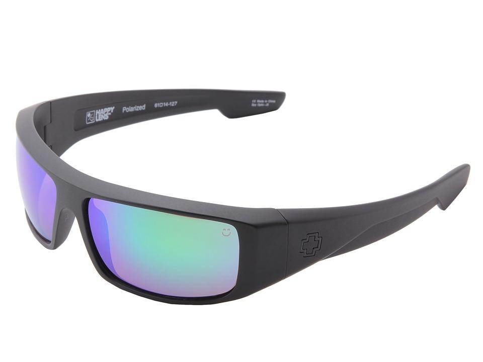 Spy Optic Logan (Happy Lens) (Matte Black-Happy Bronze Polar W/Green Spectra) Sport Sunglasses