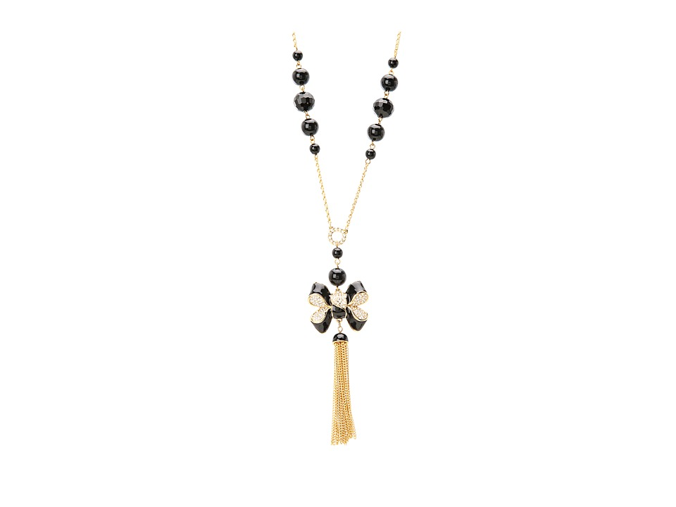 My Flat In London Miss Khloe Tassel Necklace Gold/Black/Pearl Necklace
