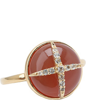 Elizabeth and James - Northern Star Cabochon Ring with Carnelian and White Topaz