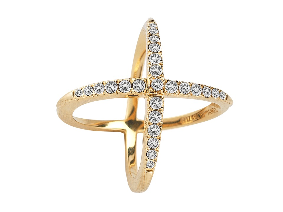 Elizabeth and James - Windrose Pave Ring (Gold Plated/White Topaz) Ring