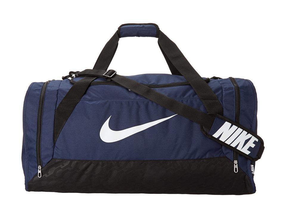 Nike - Brasilia 6 Large Duffel (Midnight Navy/Black/White) Duffel Bags