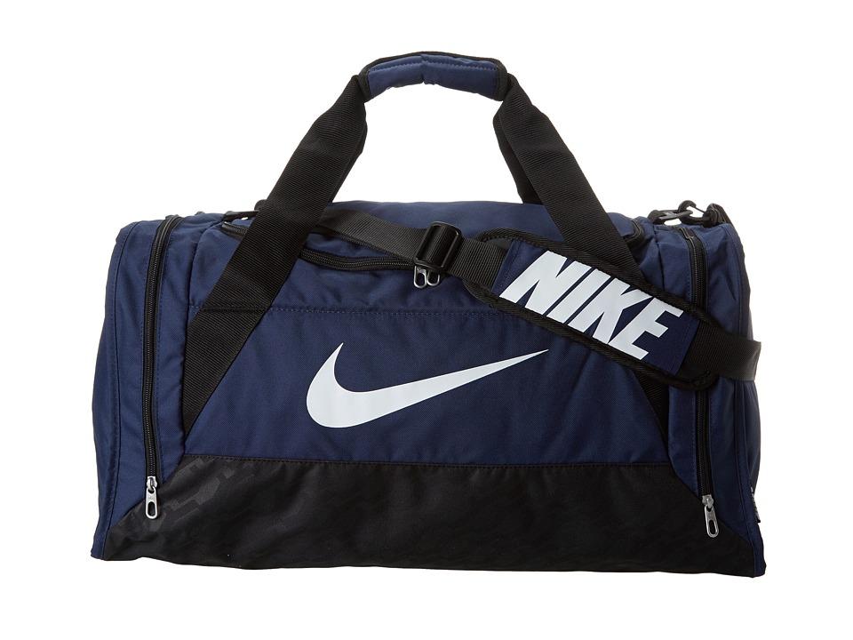 Nike - Brasilia 6 Medium Duffel (Midnight Navy/Black/White) Duffel Bags