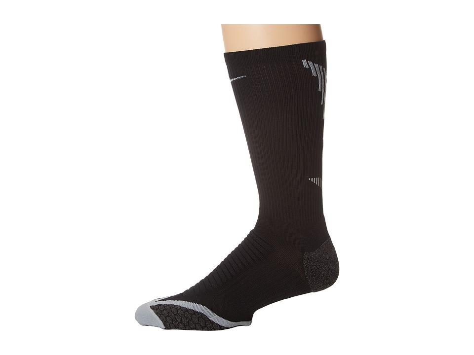 Nike - Elite Running Cushion Crew (Black/Wolf Grey/Wolf Grey) Crew Cut Socks Shoes