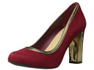 Cole Haan - Edie High Party Pump (Velvet Red Suede/Gold Metallic) - Footwear