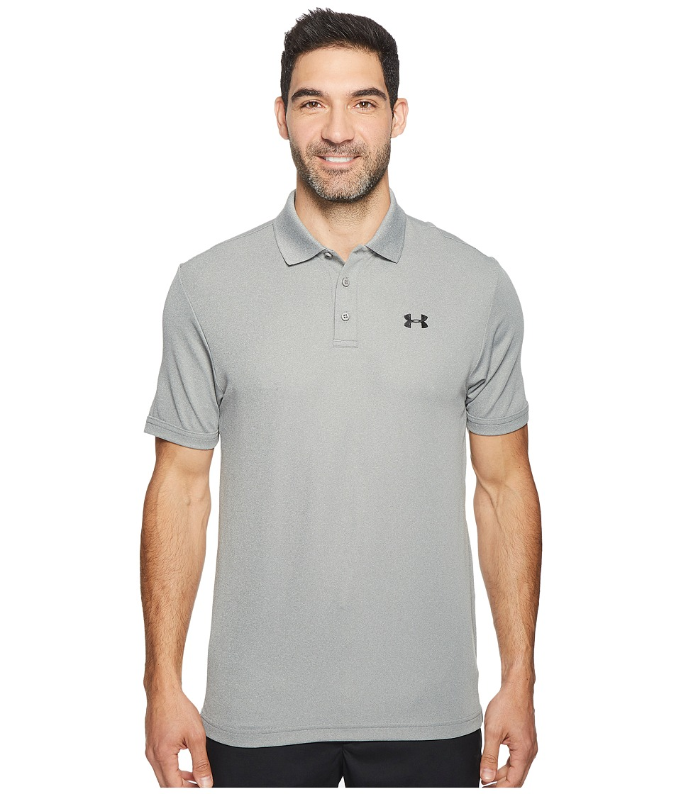 Under Armour Golf - Performance Polo 2.0 (True Gray Heather/Black) Mens Short Sleeve Pullover