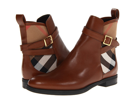 Shop Burberry online and buy Burberry Richardson Chestnut Brown/House Check Footwear - Zappos.com is proud to offer the Burberry - Richardson (Chestnut Brown/House Check) - Footwear: Soft leather with check-print cotton panels. ; Back pull tab. ; Buckled straps wrap around the shaft. ; Calf leather and polyamide lining. ; Rubber sole. ; Made in Italy. Measurements: ; Heel Height: 1 in ; Weight: 15 oz ; Shaft: 5 1 2 in ; Product measurements were taken using size 37.5 (US 7.5), width B - Medium. Please note that measurements may vary by size.