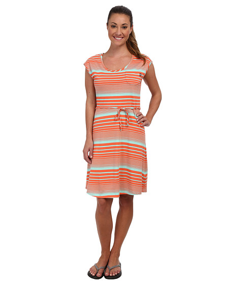 Shop The North Face online and buy The North Face Kambra Striped Dress Miami Orange/Beach Glass Green Online - The North Face - Kambra Striped Dress (Miami Orange/Beach Glass Green) - Apparel: Dressing for warm summer days doesn't get any easier than throwing on this classic striped cotton/modal dress with curved hem. ; The tie waist can be removed to create a relaxed silhouette. ; Scoop-neck with self fabric binding. ; Cap sleeves. ; Patch-on chest pocket. ; Woven logo label at chest pocket. ; 60% cotton, 40% modal jersey with a fabric wash finish. ; Machine wash cold, line dry. ; Imported. Measurements: ; Length: 40 in ; Product measurements were taken using size SM. Please note that measurements may vary by size.