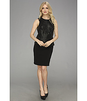 Laundry by Shelli Segal - Faux Leather and Ponte Peplum Dress