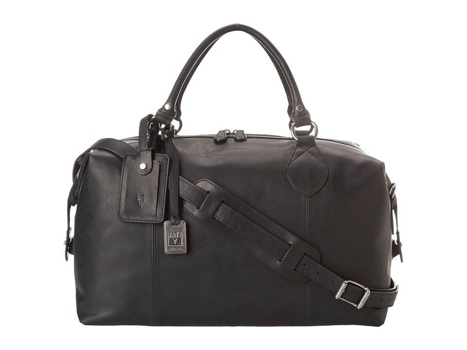 Frye - Logan Overnight (Black Antique Pull Up) Satchel Handbags