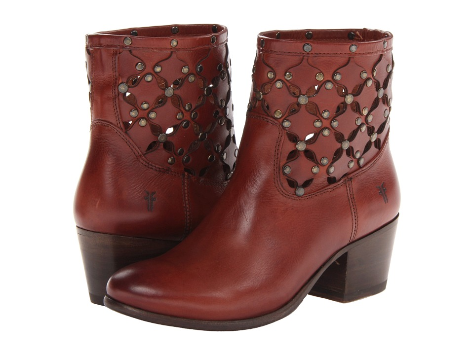 Frye Courtney Stud Overlay Bootie (Burnt Red Soft Full Grain) Cowboy Boots