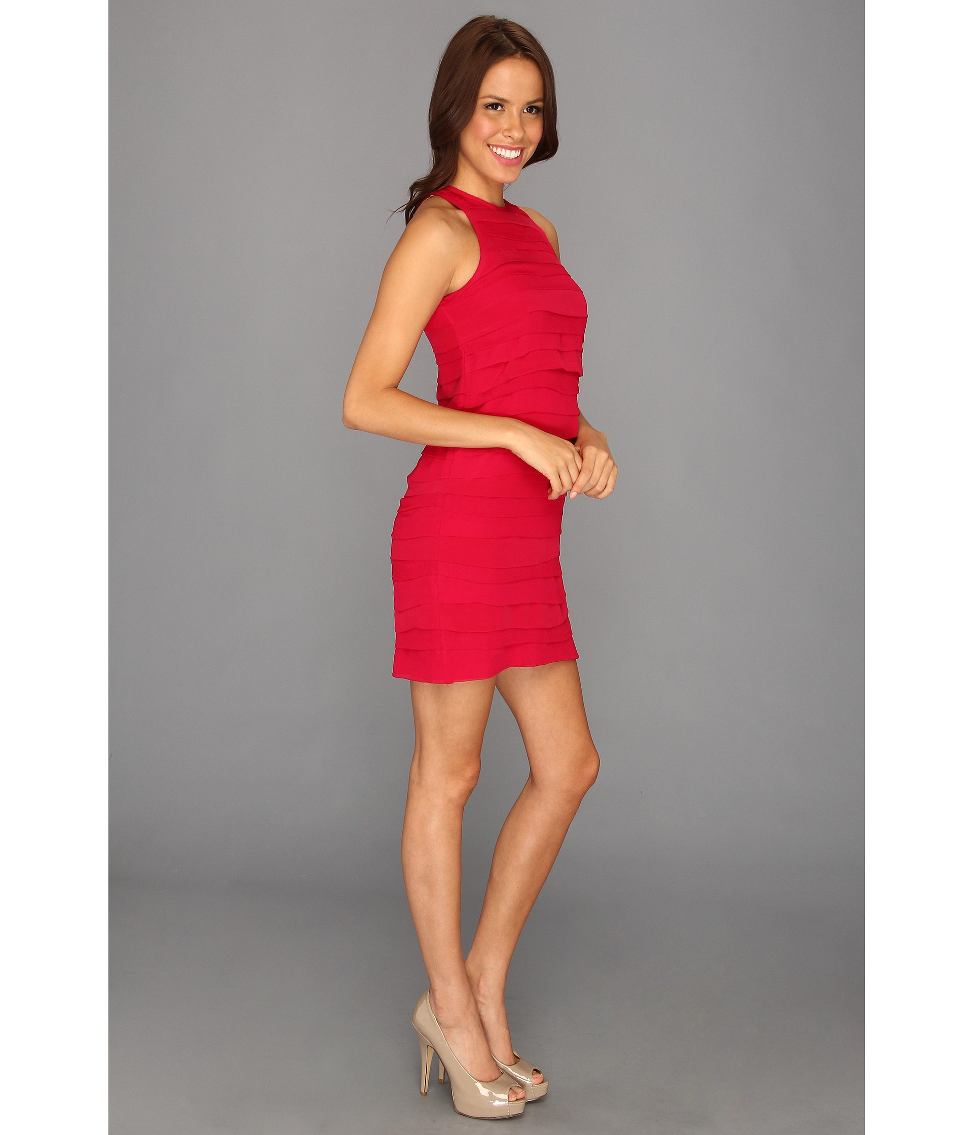 Nicole Miller Tiered Georgette Dress