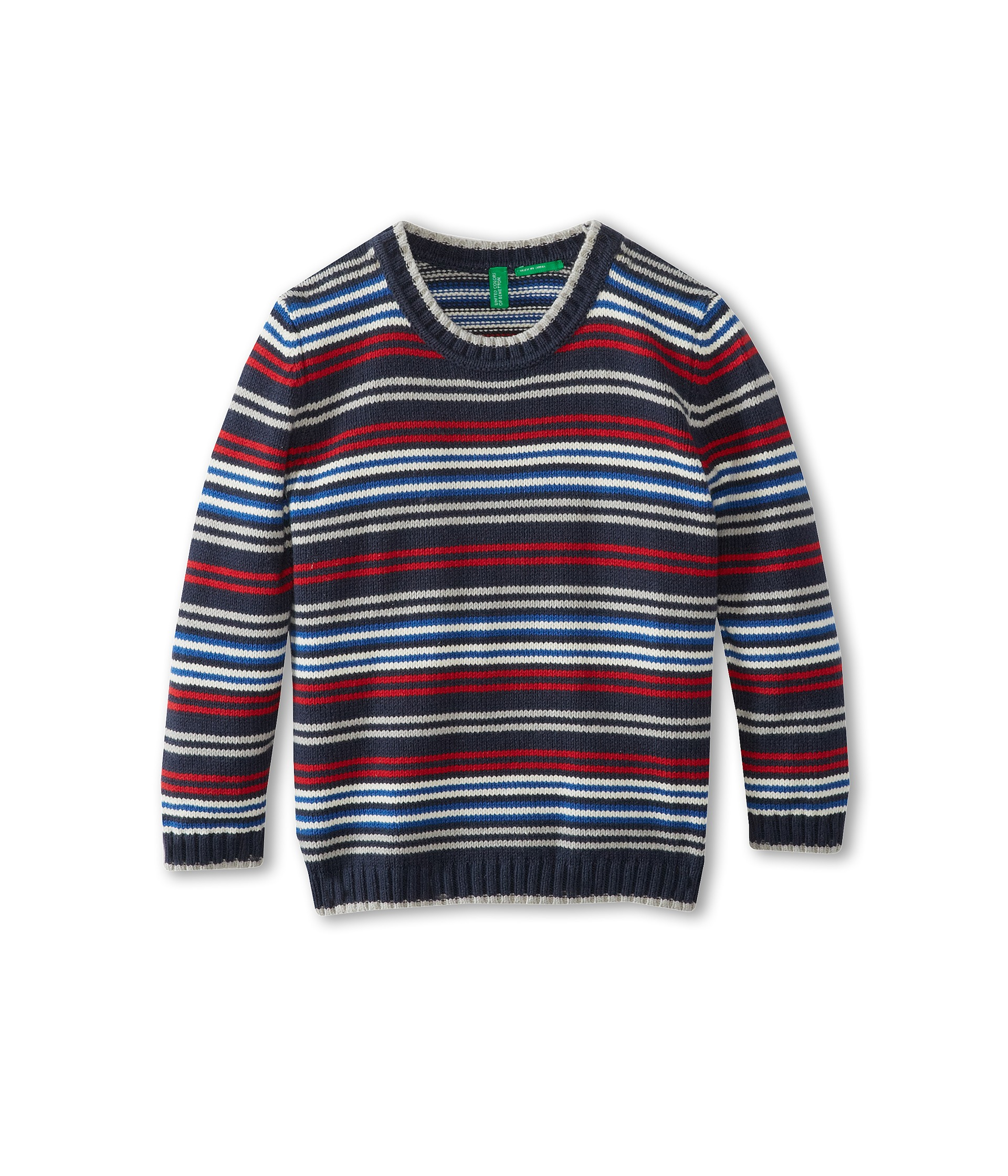 United Colors Of Benetton Kids Boys L S Cotton Crew Stripe Sweater