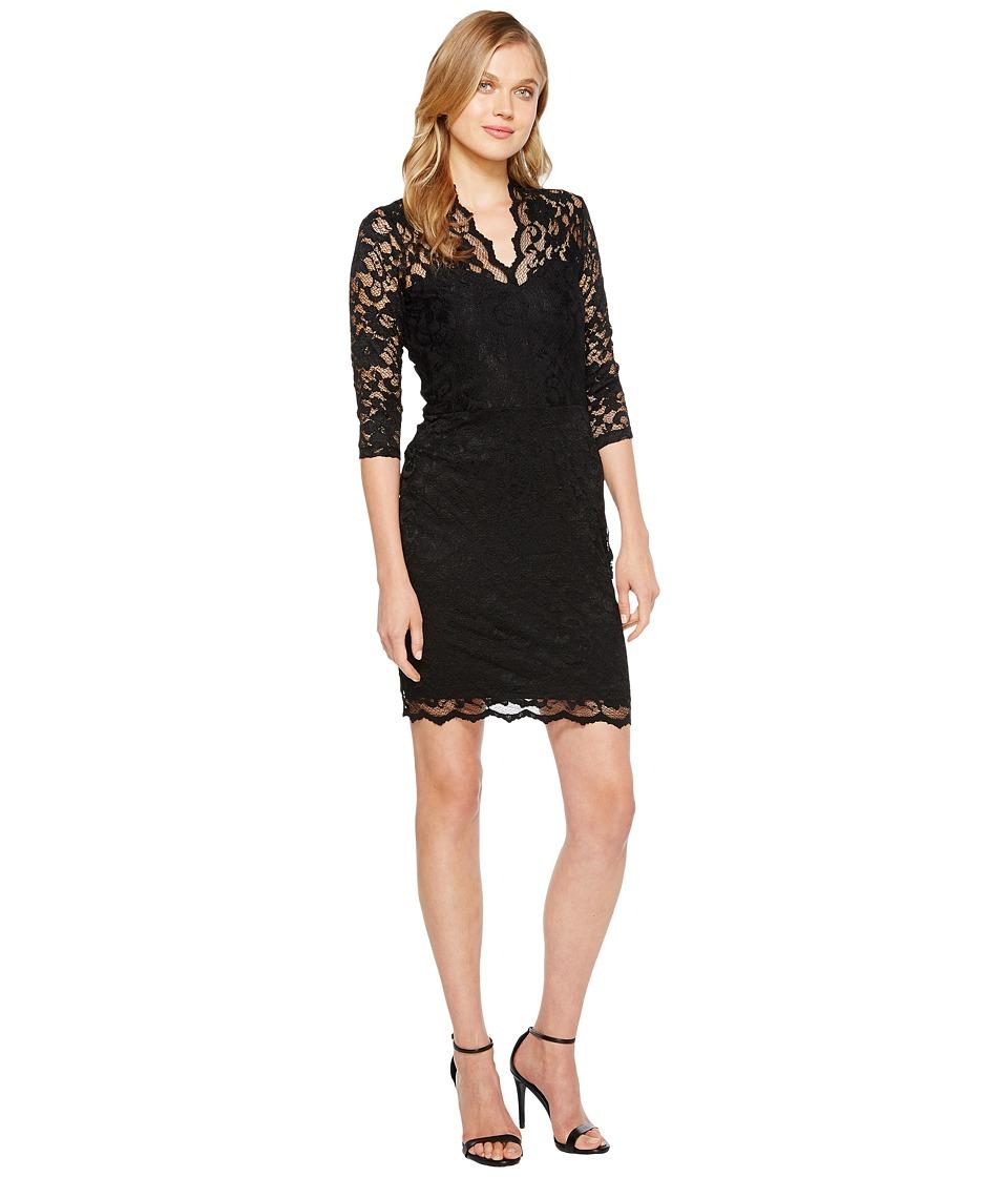 Karen Kane - V-Neck Scallop Lace Dress (Black) Womens Dress