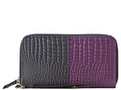 Cole Haan - Double Zip Wallet (Blazer Blue/Purple Reign Croc Print) - Bags and Luggage