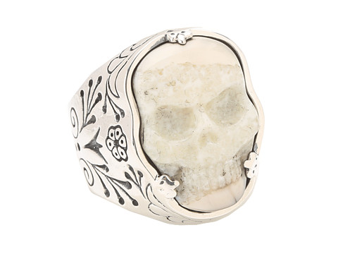 King Baby Studio Carved Ivory Skull in Silver Frame Ring