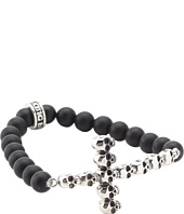 King Baby Studio - Onyx Bead Bracelet with Multi Skull Cross