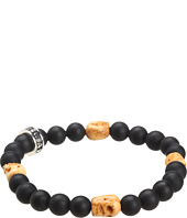 King Baby Studio - Onyx Bead Bracelet with 4 Bone Skull Stations