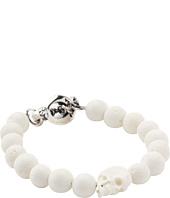 King Baby Studio - White Coral Bead Bracelet with White Bone Skull and Silver Clasp