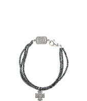 King Baby Studio - Three Strand Hematite Bracelet with Pavé Diamond Cross