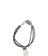 King Baby Studio - Three Strand Hematite Bracelet with White Crowned White Bone Skull
