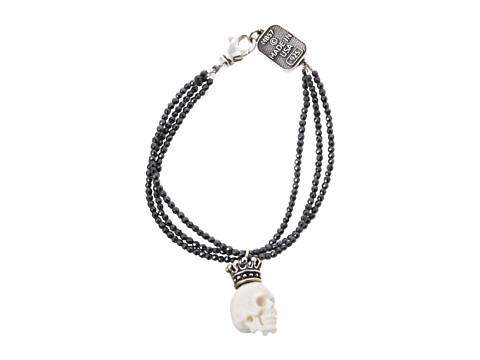 King Baby Studio Three Strand Hematite Bracelet with White Crowned White Bone Skull