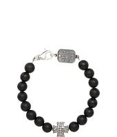 King Baby Studio - Onyx Bead Bracelet with Pavé Diamond Cross