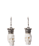 King Baby Studio - Crowned White Bone Skull Leverback Earrings
