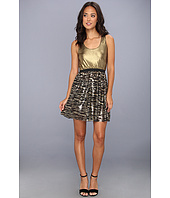 Tbags Los Angeles - Waisted Tank Dress w/ Metallic Gold Top & Sequin Skirt